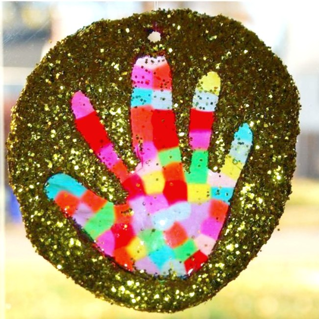 Melted Bead Handprint Suncatchers