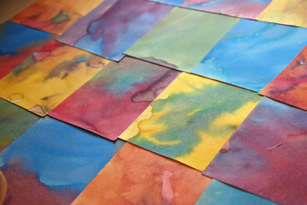 watercolor paper squares for homemade watercolor alphabet chart