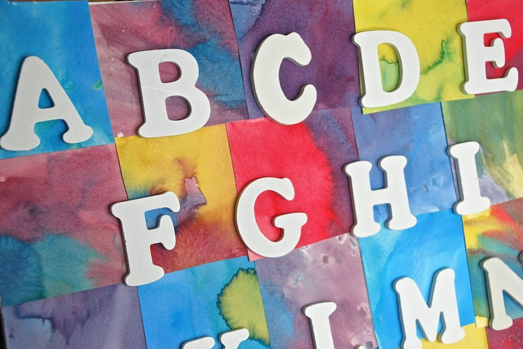 close up of homemade watercolor alphabet chart