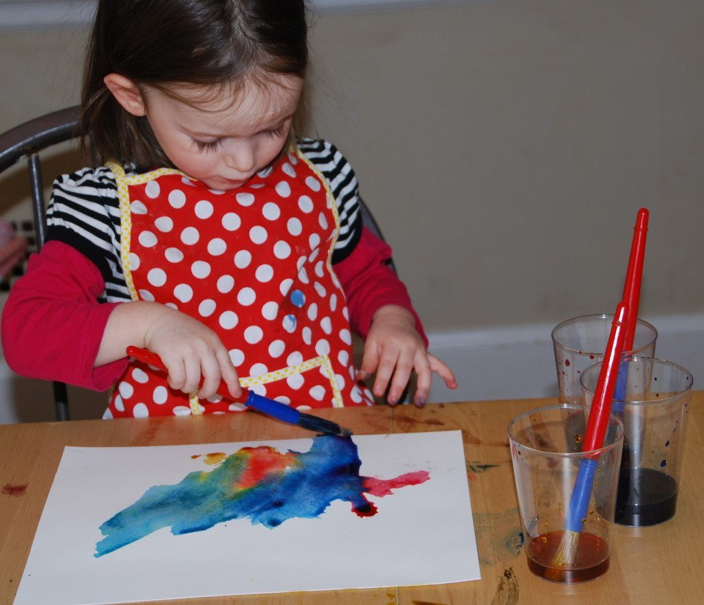 creating paintings for homemade watercolor alphabet chart