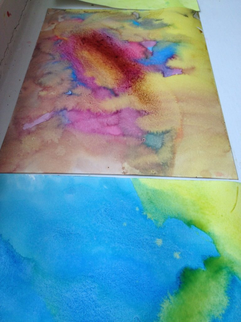 drying watercolor paintings to create homemade watercolor alphabet chart