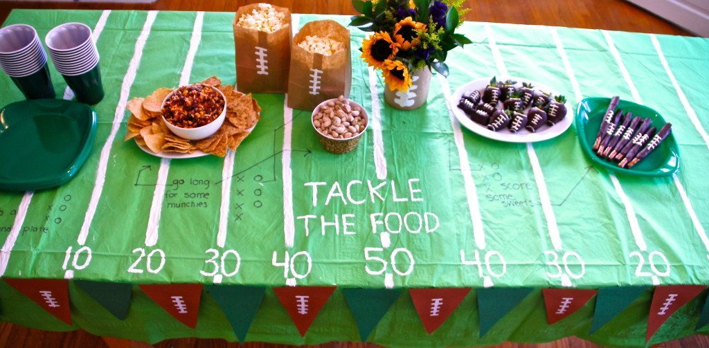 fun table is one of the ideas in the post on football recipes and party planning
