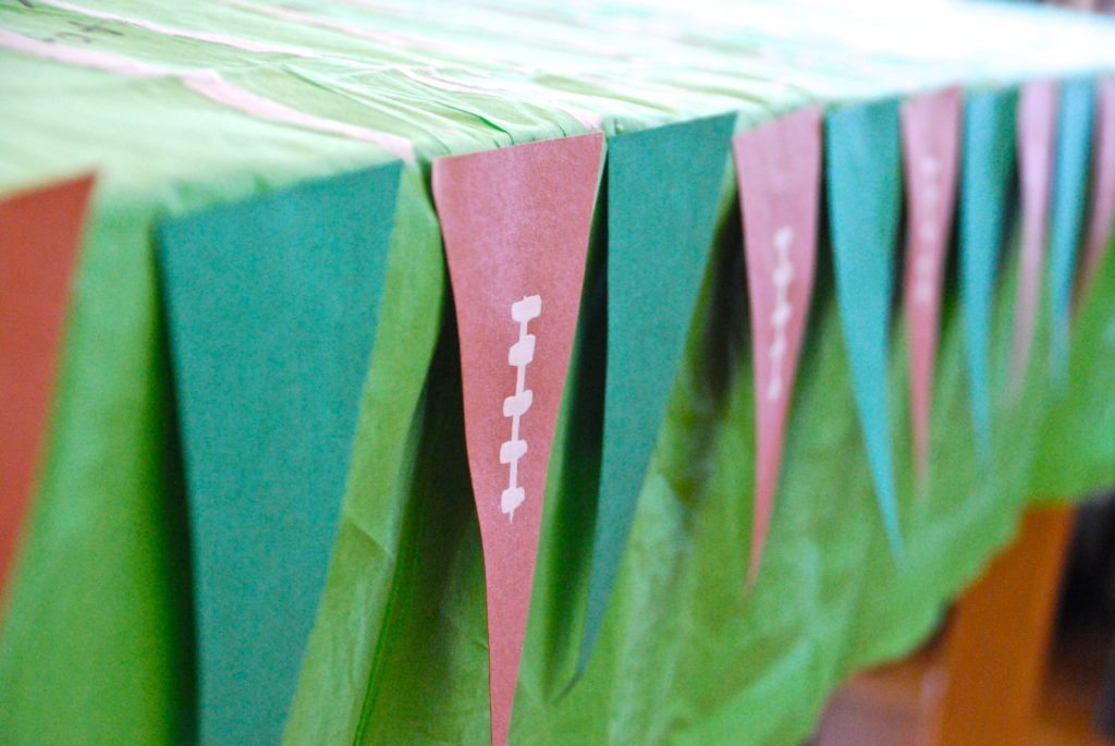 love this football banner!  great football recipes and party planning from Homegrown Friends.