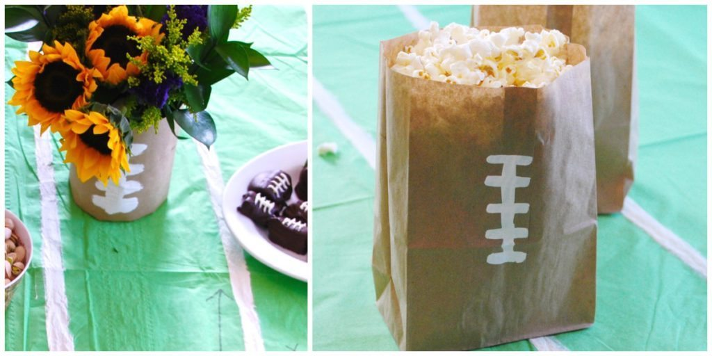 simple paper bags are perfect for fun football recipes and party planning from Homegrown Friends