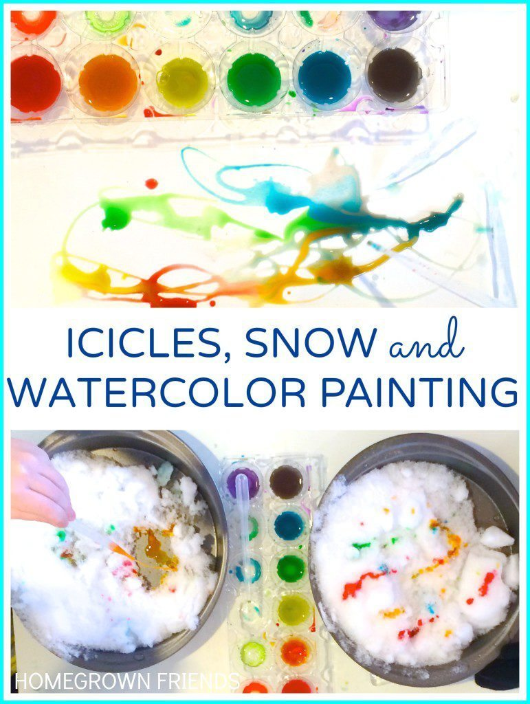 love this idea for exploring icicles, snow and watercolor painting from Lauren Karwoski Magee for Homegrown Friends