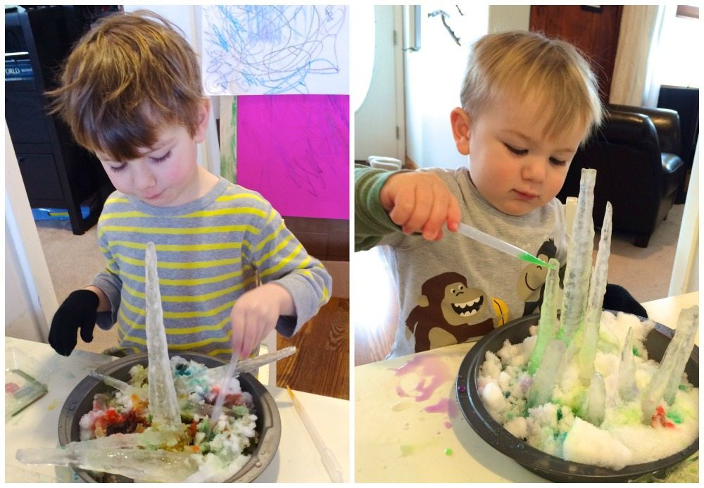 using icicles to build in snow is one way of exploring icicles, snow and liquid watercolors