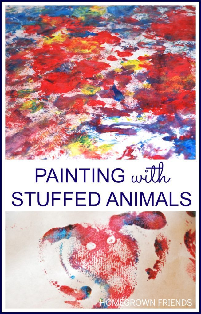 Love this fun Painting with Stuffed Animals project from Homegrown Friends!
