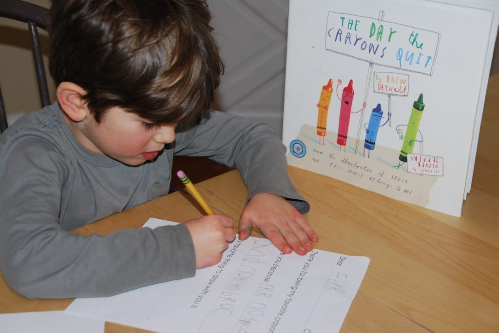 having fun with The Day the Crayons Quit Writing Activity