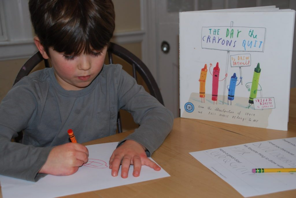 drawing with favorite crayon is part of The Day the Crayons Quit Writing Activity