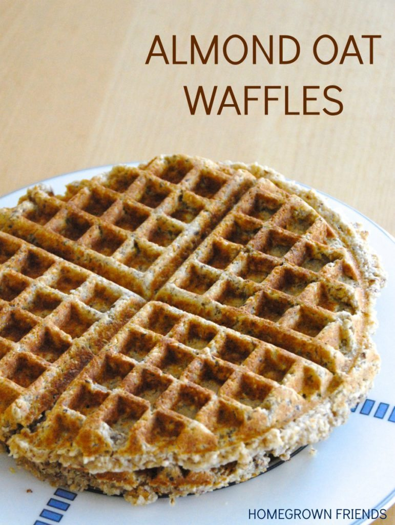Healthy Almond Oat Waffles from Homegrown Friends