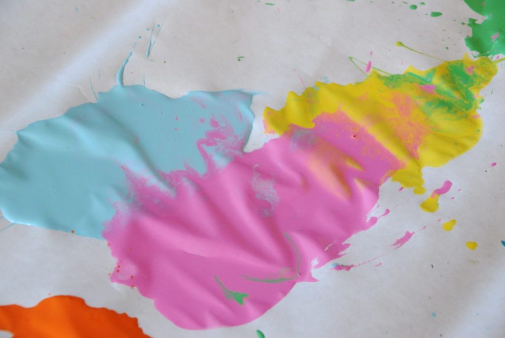 one of the paint blobs created on the Beauitful Oops Straw Blow Painting