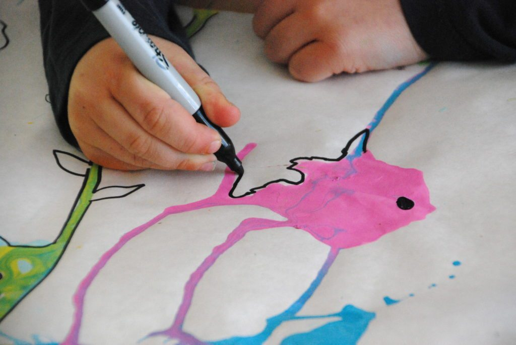 Beautiful Oops Straw Blow Painting- adding details with markers