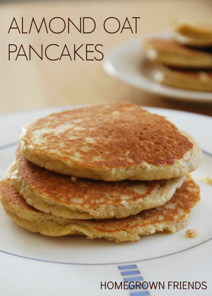 easy to make fluffy almond oat pancakes   no refined sugar, no white flour
