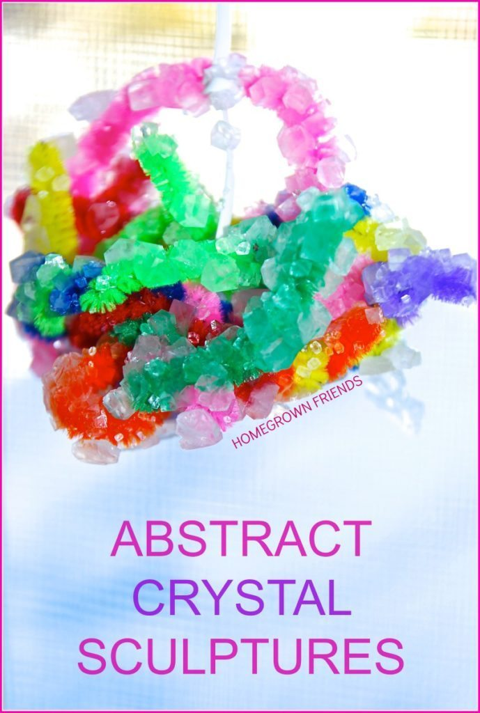 abstract borax crystal pipe cleaner sculptures