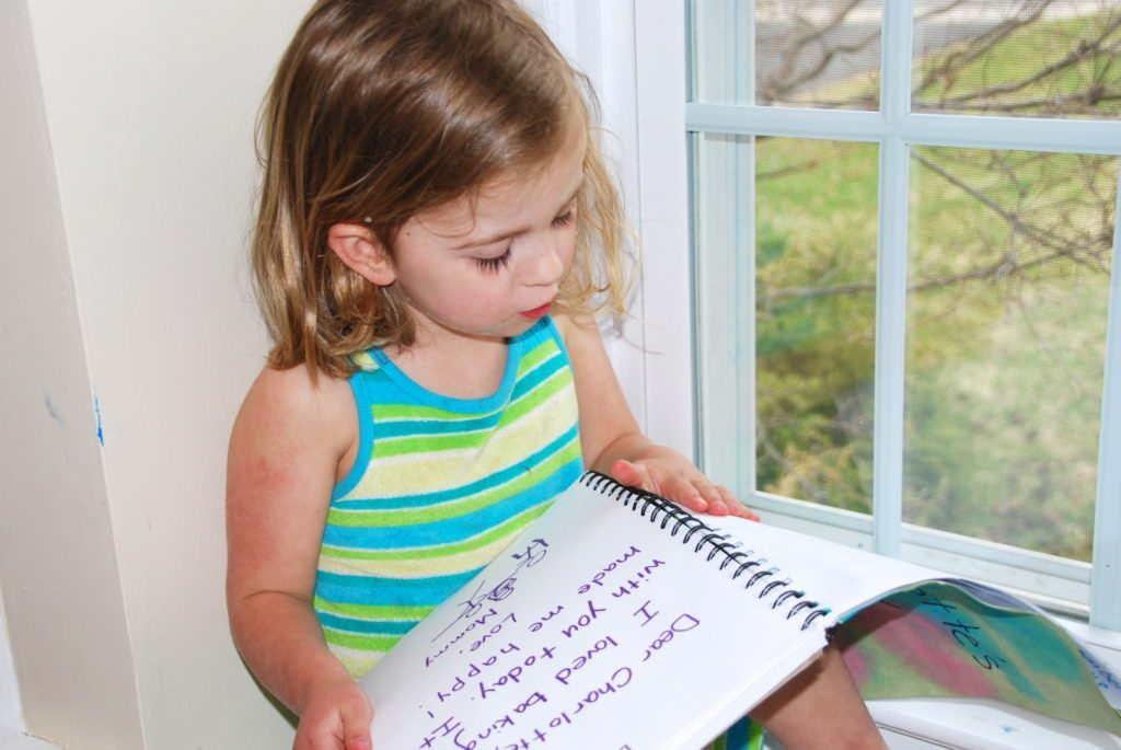 reading and reflection on the happy thoughts journals for kids