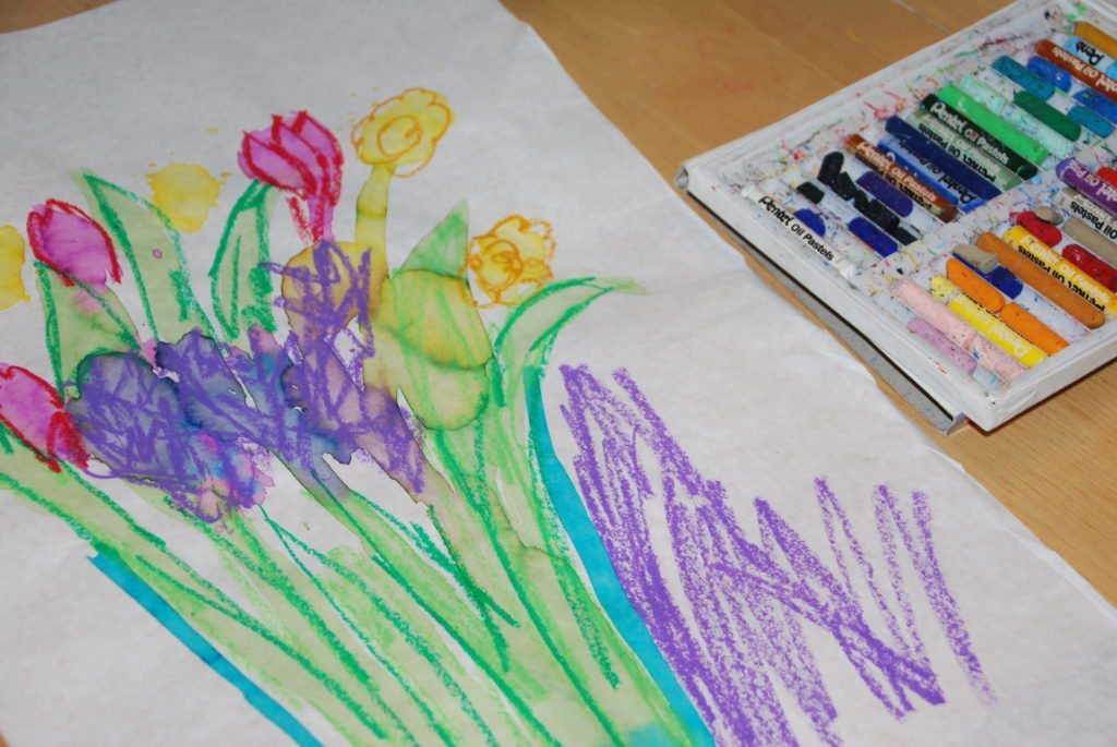using oil pastels for mixed media still life flowers