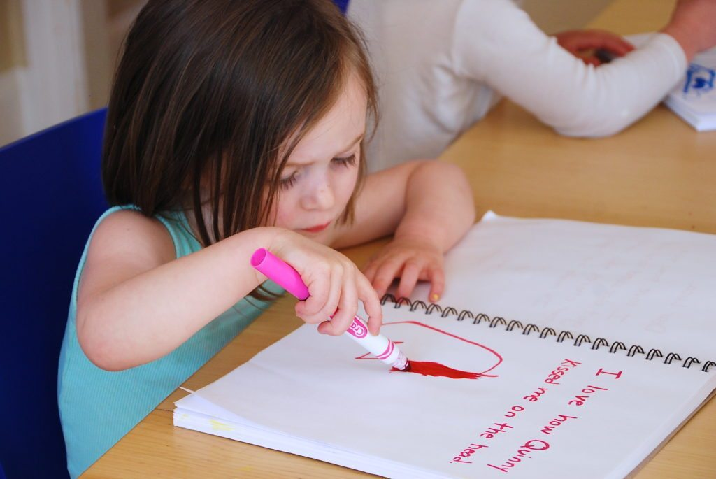 writing an entry in the happy thoughts journal for kids