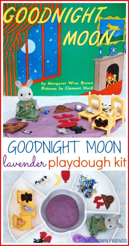 Goodnight Moon Lavender Playdough Kit is a wonderful way to explore the book through play #preschoolbookclub
