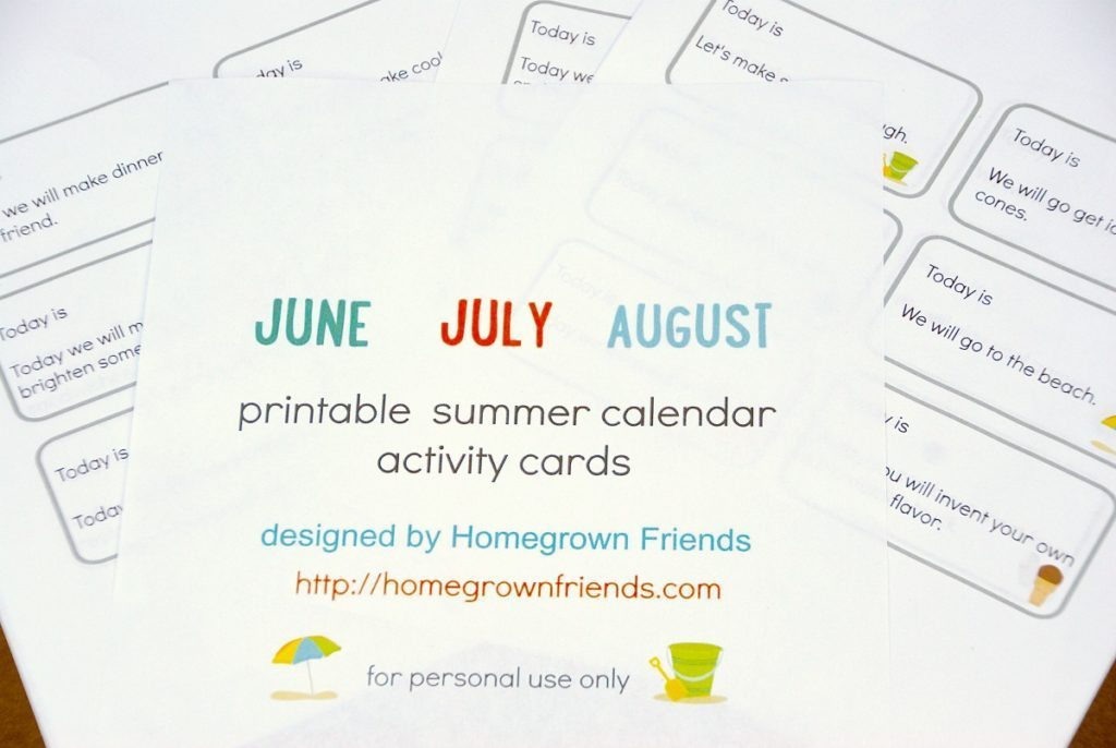48 Printable Summer Calendar Activity Cards