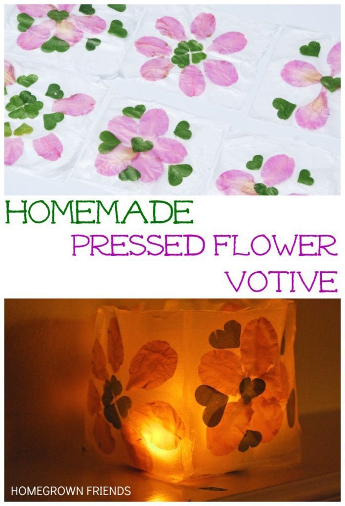 Homemade Pressed Flower Votive