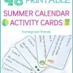 Printable Summer Calendar Activity Cards