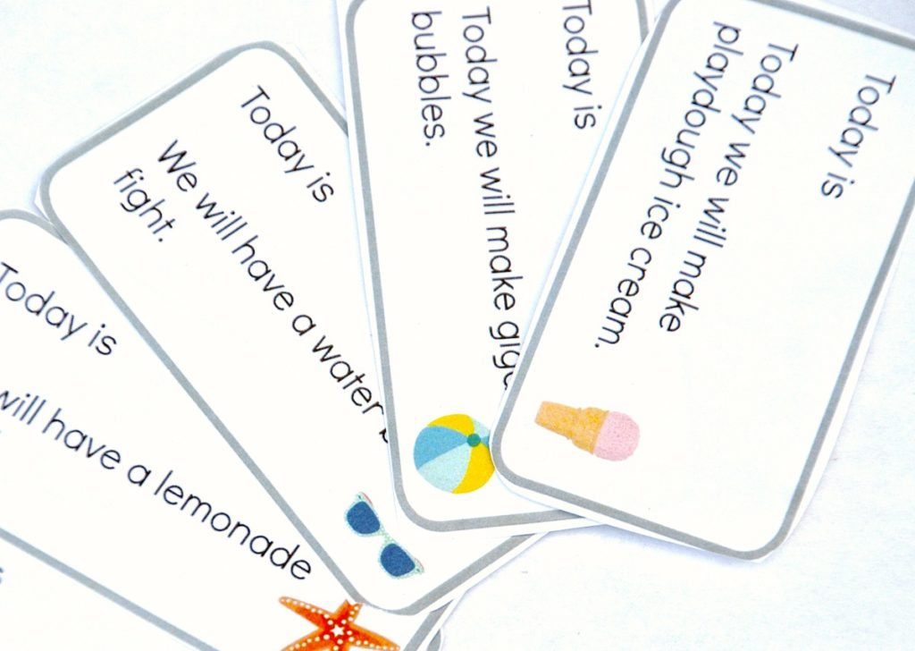 summer calendar activity cards- close up