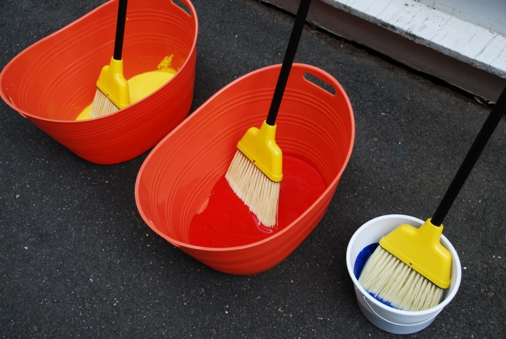 materials for broom painting process art