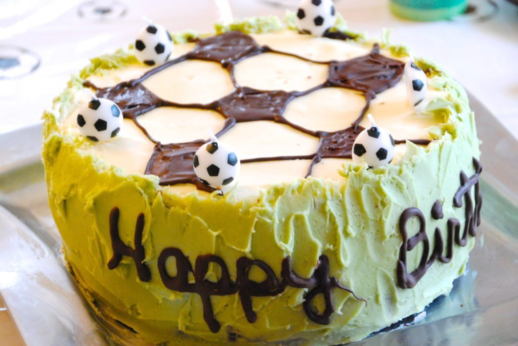 Soccer Themed Birthday Party Cake