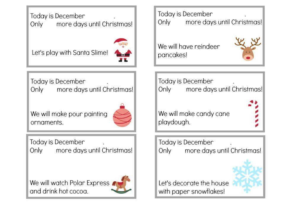 Christmas Advent Calendar Printable Activity Cards