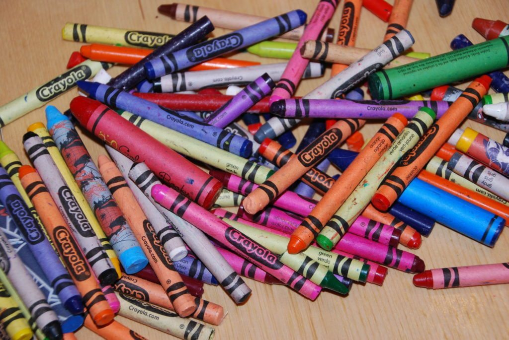 lost of crayons to make the Homemade Giant Crayon