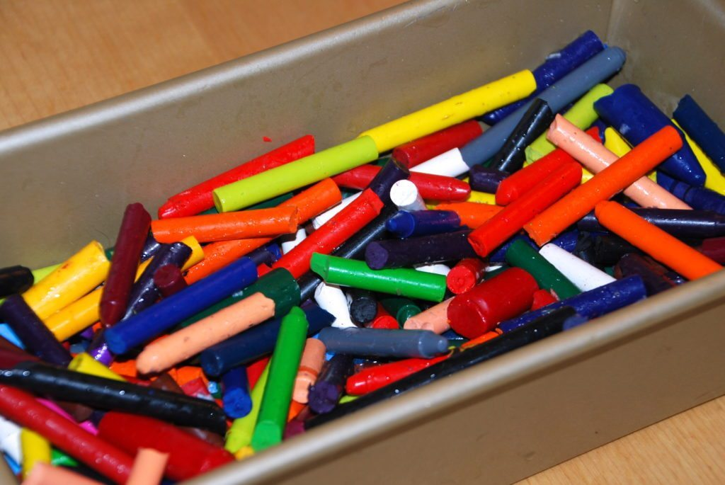 put the crayons in a loaf pan to make a Homemade Giant Crayon