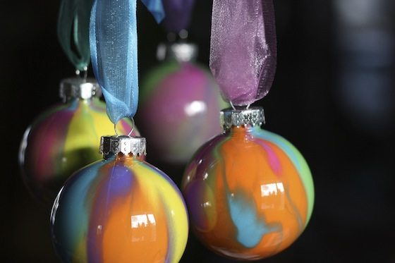 Pour Painted Christmas Ornaments from Happy Hooligans
