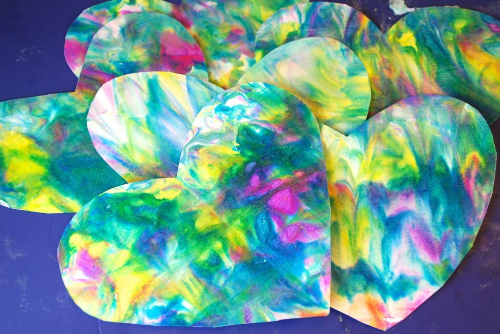 Marbleized Shaving Cream Paper Activities- Make Hearts