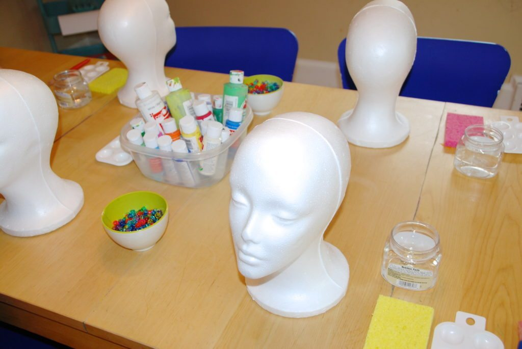 set up for Styrofoam Head Sculptures for Kids
