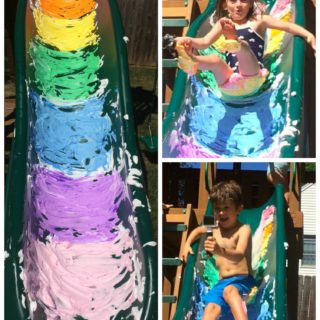 Rainbow Shaving Cream Slip n Slide