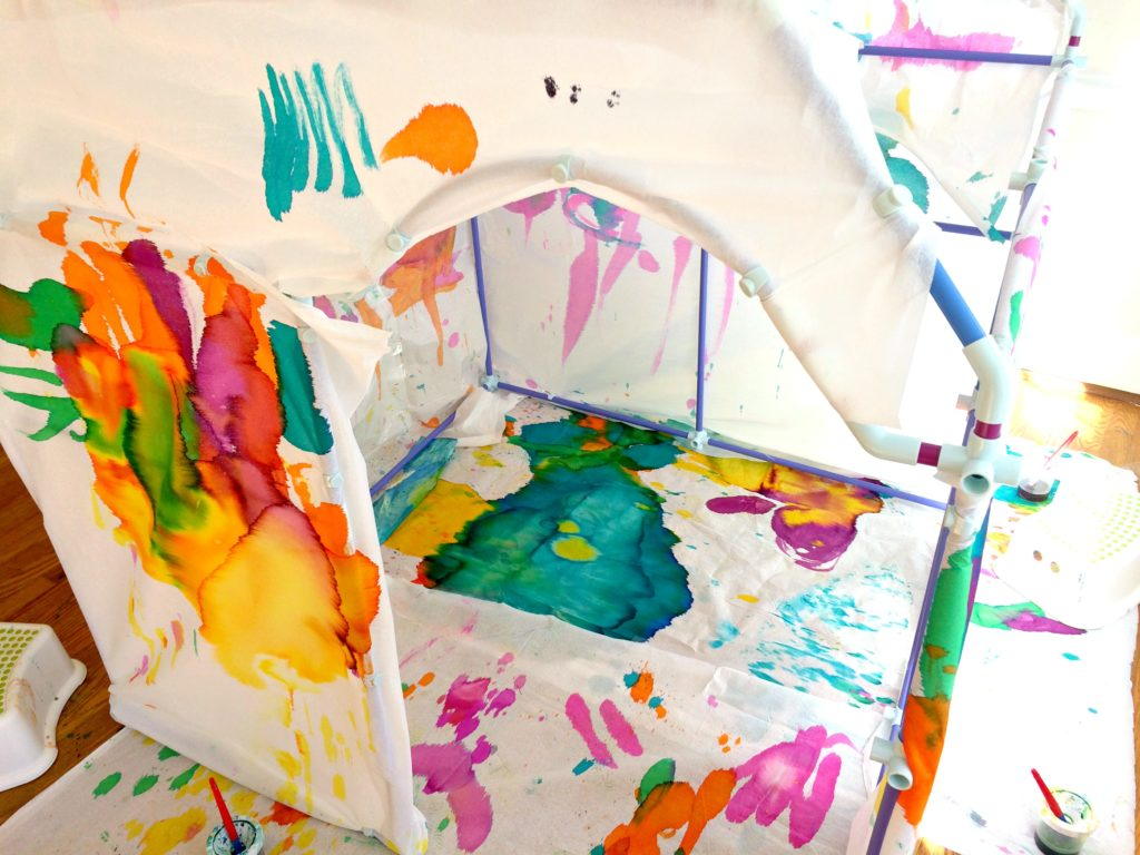 Giant Fort Painting with Kids