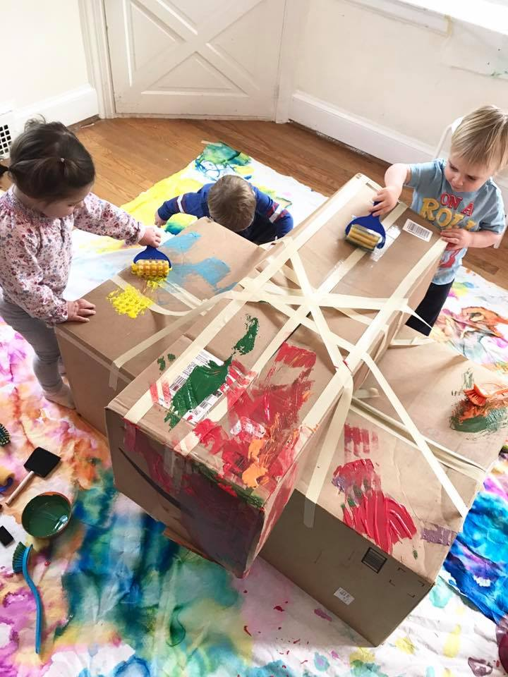 cardboard box painting is one of the easy fun toddler playgroup ideas