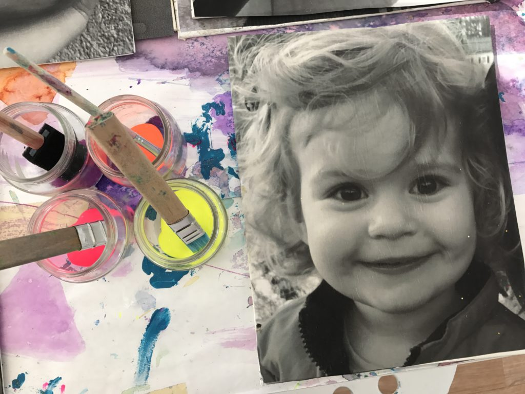 Painted Black and White Photograph Portrait Canvases