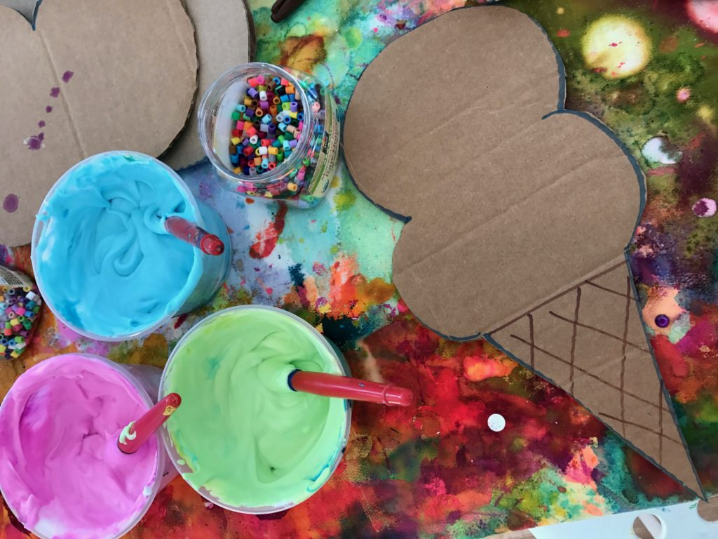 materials for the Puffy Paint Ice Cream Cone Craft