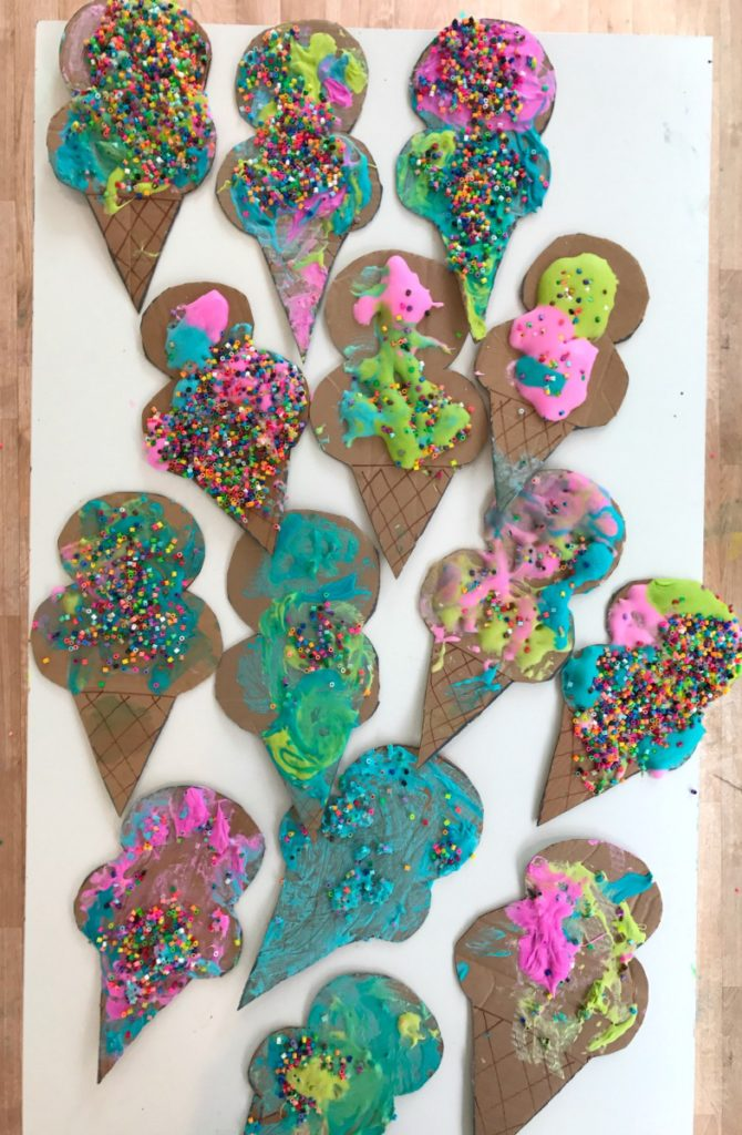 examples of the Puffy Paint Ice Cream Cone Craft