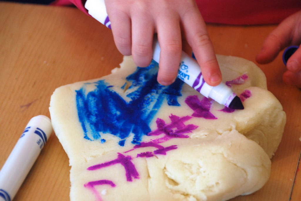 Coloring Playdough with Markers - Homegrown Friends