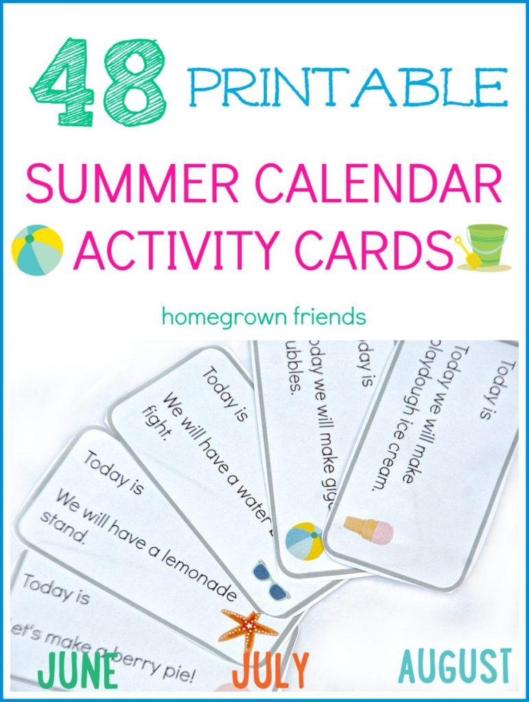 summer calendar activity cards