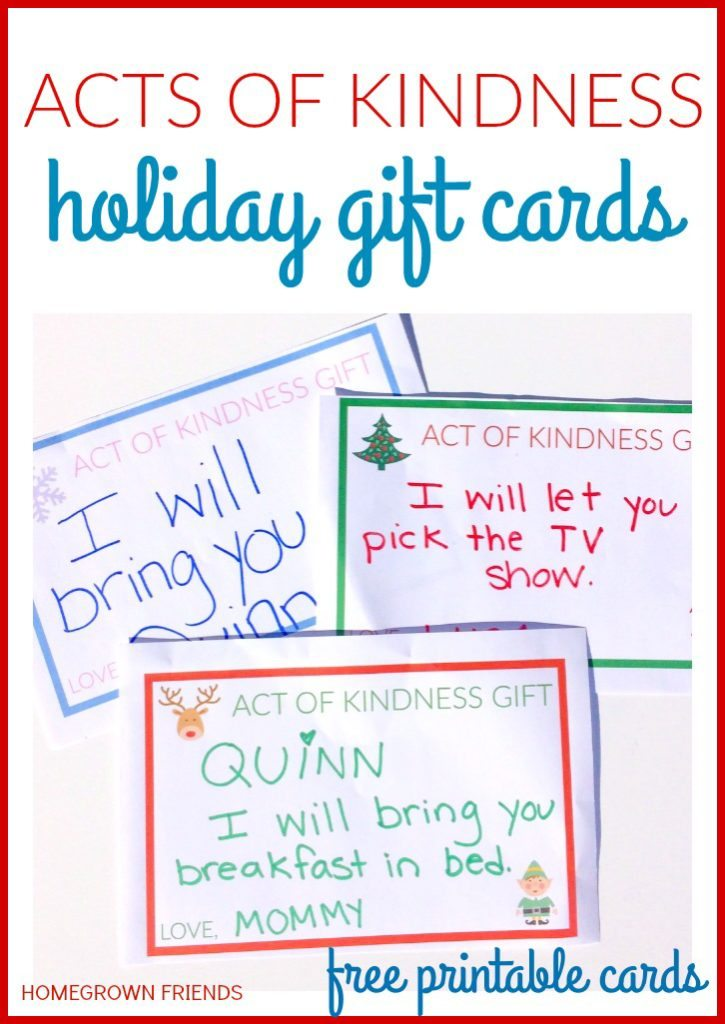 graphic about Kindness Cards Printable named Functions of Kindness Holiday vacation Present Playing cards - Homegrown Mates