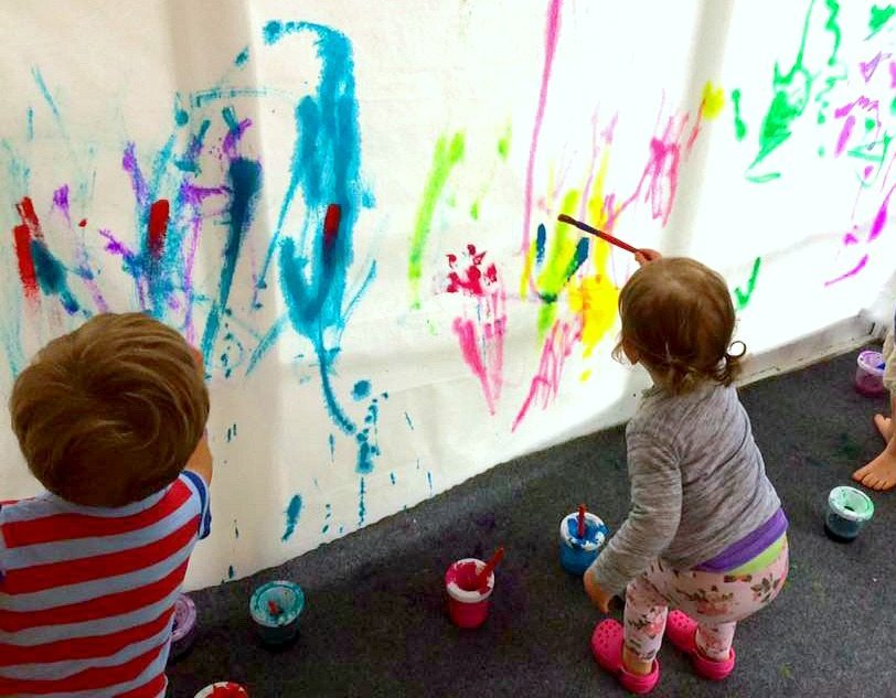 Collaborative toddler watercolor painting for Watercolor painting classes near me