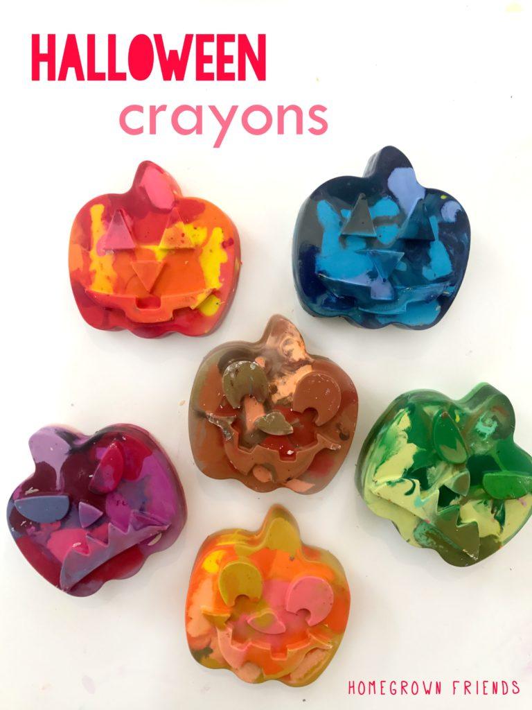 diy rainbow halloween pumpkin crayons